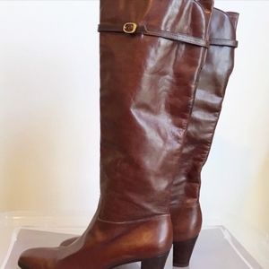Salvatore Ferragamo Cognac Leather Tall Boots Sz 8